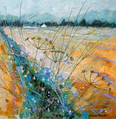 Twixt Fields by the contemporary artist Deborah Phillips. Flower Landscape, Watercolor Landscape, Abstract Landscape, Landscape Paintings, Watercolor Art, Landscape Quilts, Abstract Nature, Abstract Art, Abstract Paintings