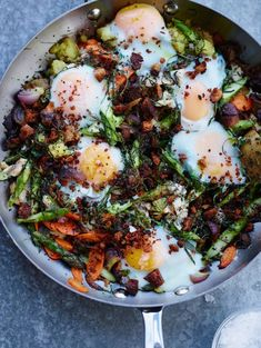 smoked trout with vegetable hash and eggs.