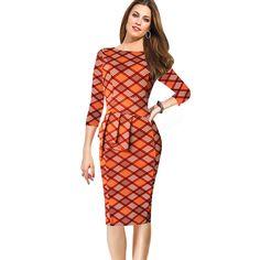 Aliexpress.com :  Frauen Elegante Vintage Plaid Kleid .....