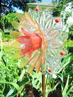 glass garden flower yard art garden gifts by ADelicateTouch1