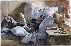 John Singer Sargent 1910 hombre leyendo