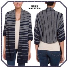 """BCBG Gaby Open Cardigan Sweater 32"""" long in front and 23"""" at longest point in back. Raglan sleeves are 7.5"""" measured from armpits. Navy and gray stripes.  Excellent condition. BCBGMaxAzria Sweaters Cardigans"""