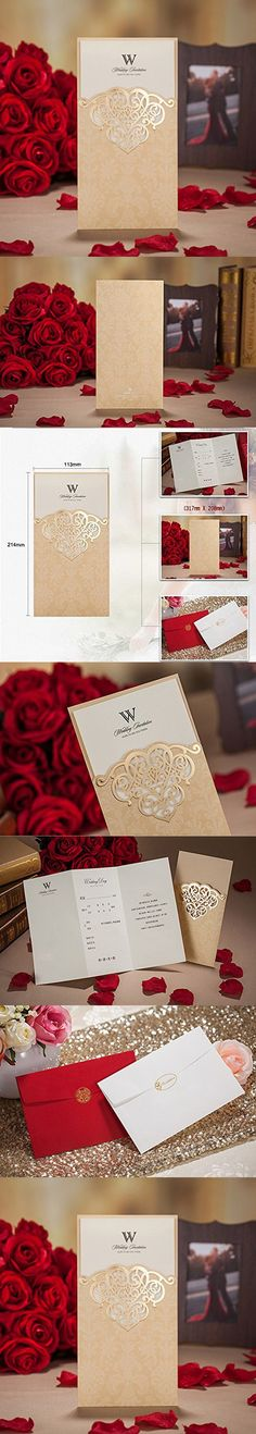 Wishmade 1x red laser cut square wedding invitations kits with wishmade 1x red laser cut square wedding invitations kits with embossed hollow favors bridal shower engagement birthday greeting cards cw5280 pinterest stopboris