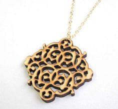 Baronyka Wooden Lace Pendant Necklace