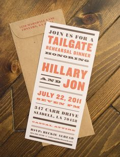 Tailgate Rehearsal Dinner Invitation  www.alreaddesigns.com