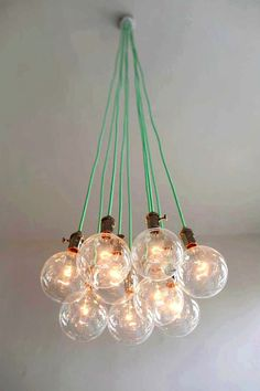 9 Cluster Pendant Lighting modern chandelier Mint Cloth Cords Industrial pendant lamp Hanging Ceiling Fixture Light Vintage style bulbs