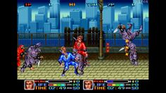 The journey takes the ninja heroes from an amusement park to the top of a tower. Along the way, they must survive endless attacks from the members of Kage Ichizoku and their minions. The protagonists Joe and Hayabusa uses shurikens as their primary weapon, although other weapons that aid them along the way are nunchakus, maces, ratchets, battle axes, spiked clubs, and katana swords. A special somersault attack can be used to knock down a multiple enemies in a row. Snk Games, 90s Video Games, Neo Geo, Katana Swords, Amusement Park, Knock Knock, Minions, Arcade, Ninja