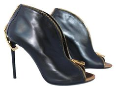 b5ae119e846 Tom Ford Black Leather Open Toe Zipper Ankle 38 Boots Booties Size US 8  Regular (M
