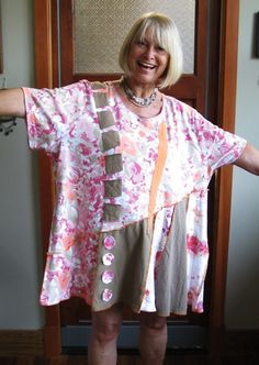 Plus Size Tunic / Funky Artsy Eco Fashion / Upcycled Clothing By MaiseStudio