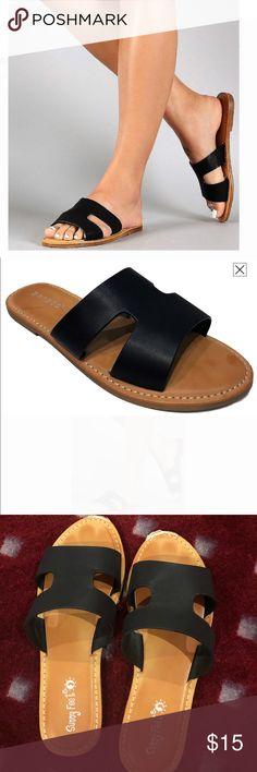 368b05898 H-Band Slide Sandal Flip Flops Slipper Mules Black H-Band Open Toe Slide  Flat Sandal Flip Flops Slipper Mules Black H-Band Faux Leather Heel  Inches  Open ...