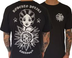 """""""My Darling"""" Black T-shirt with white prints. Front chest print Eagle Full back print lady and rose. Traditional Black Tattoo, Tattoo T Shirts, White Prints, Chinese Clothing, Apparel Design, Tattoo Art, Black Tattoos, Printed Shirts, Shirt Designs"""