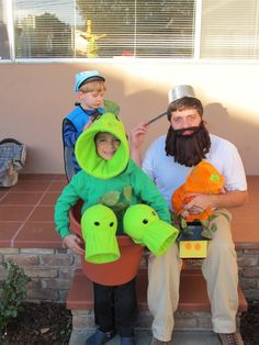 This Halloween my son Peter went as a Threepeater from the game Plants vs. Zombies with a costume I made with my wife Terri. His pea shooters shot li...