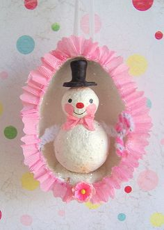 *STJ * PAPER * CLAY...Retro Snowie Shadowbox Ornie by thepolkadotpixie, via Flickr