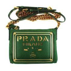 Prada Crossbody Saffiano Bag - Green Leather & Tessuto Shoulder Gold... (525 CAD) ❤ liked on Polyvore featuring bags, handbags, shoulder bags, crossbody purse, leather handbags, prada shoulder bag, genuine leather handbags and prada purses