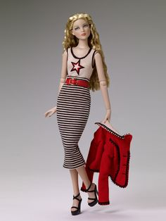 "$99.99 Cami & Jon ""All Star Business"" Tonner Doll Company Outfit only  Fits dolls such as Cami & Jon™ and Antoinette™  Tan and black stripe skirt  Tan bodysuit with star decoration and black and red trim  Red faux leather belt  Red jacket with black trim and gold buttons  Black elastic strap platform shoes  LE 300"