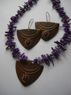 Sugilite Beaded Gemstone Pendant/Earrings w/Purple Coral Cupolini
