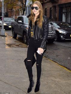 Making the streets her runway: On Monday, Gigi Hadid, 21, stepped out in SoHo in another trend-setting outfit, clad in head-to-toe black