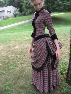 Victorian Bustle Day Dress in cotton plaid by redthreaded on etsy