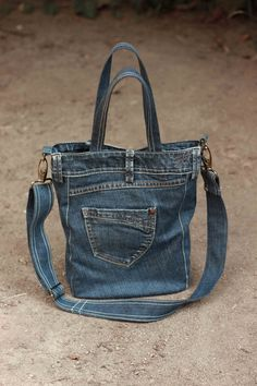 Recycled denim bag casual denim bag upcycled denim by GAMMAstudio More