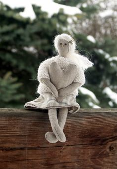 linen fabric art doll and heart ornament by BelaStitches on Etsy