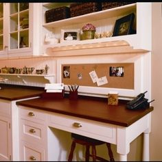 Love the little low-shelf to the left of the desk. Functional Cottage Kitchen - traditional - kitchen - philadelphia - Superior Woodcraft, Inc. Kitchen Desk Areas, Kitchen Desks, Kitchen Office, Home Office, Office Nook, Desk Nook, Desk Hutch, Small Office, Built In Desk