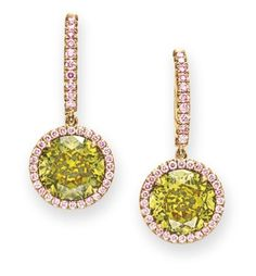 A PAIR OF FANCY DEEP GREENISH YELLOW AND PINK COLORED DIAMOND EAR PENDANTS.