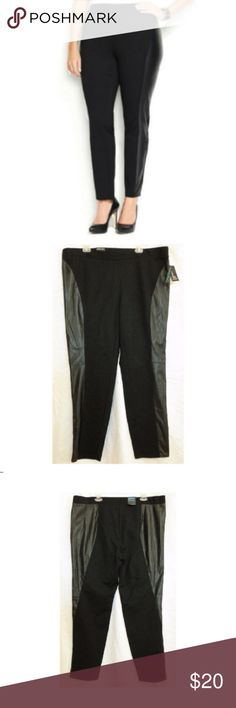 INC Faux-Leather Pants NWT $70 22W INC Black Faux-Leather Ponte Pants 22W NWT$70 Manufacturer: INC Size: 22W Retail: $69.50 Condition: New with tags Style Type: Casual Pants Collection: INC Woman Bottom Closure: Elastic Front Style: Flat Front Back Pockets: No Pockets Material: 65% Rayon/30% Nylon/5% Spandex Fabric Type: Ponte Specialty: Faux Leather Trim INC International Concepts Pants