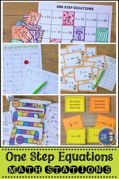 One Step Equations Math Stations Algebra Activities, Math Resources, Teaching Math, Math Games, Classroom Resources, Kindergarten Math, Teaching Ideas, Classroom Ideas, Math Stations