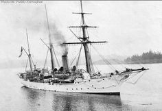 HMS Shearwater, a circa 1900 old Condor-class sloop, 980 tons, 6-4 inch guns, 13kts, 130 crew.   Sold in 1922.  Service record:  Oct 1913-Aug 1914, Pacific, Halifax.