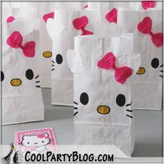 HELLO KITTY party theme  {DIY gift bags}