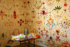 adam parker smith - installation - awesome idea for dealing with 70s wallpaper