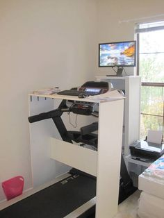 The Amazing Treadmill Desk — Eleanor Brown New Modern House, Treadmill Desk, Stand Up Desk, Ball Chair, Relaxation Room, Diy Desk, Office Organization, Diy Table, Home Office
