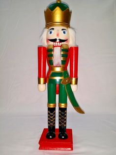 Wooden Nutcracker Soldier Captain of the Guard 15 inch Red Green Christmas Decor