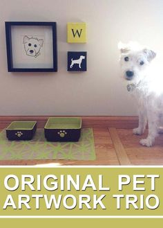 Custom artwork for your pet's 'dining room'. Love this idea for our puppy space! Dog Corner, Dog Area, Animal Room, Dog Rooms, Dog Life, Dogs And Puppies, Doggies, Puppy Love, Fur Babies