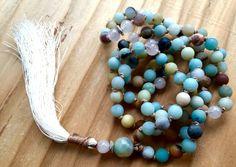 Petite Amazonite and Rose Quartz Mala Beads, Heart Chakra, 108 Healing Mala Beads, Tassel Necklace, Yoga Jewelry
