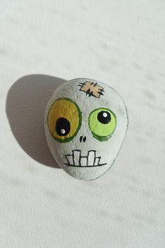 Zombie - Painted Zombie's Head - Painted Sea Stone - OOAK. $10.00, via Etsy.