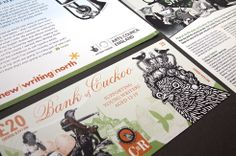 Fundraising leaflet for Cuckoo Young Writers, designed in the style of a UK banknote.