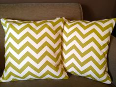 Olive Green Chevron Pillow Set. $28.50, via Etsy.