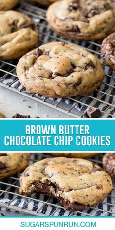 Infused with the rich, nutty flavor of browned butter, loaded with semisweet chocolate, and topped off with flaky sea salt, these Brown Butter Chocolate Chip Cookies are world-class cookies. Easy Cookie Recipes, Easy Desserts, New Recipes, Baking Recipes, Butter Chocolate Chip Cookies, Best Chocolate Chip Cookie, Brown Butter, Sea Salt, Sugar