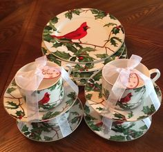 Grace Tea Ware RED CARDINAL HOLLY BERRY CHRISTMAS DINNER PLATES CUPS & SAUCERS #GRACETEAWARE