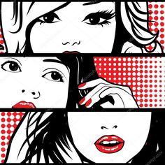 Pop art visages de femme (rétrogirl)