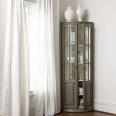Full Chilton Curved Corner Cabinet - Tall Curved Glass Cabinet