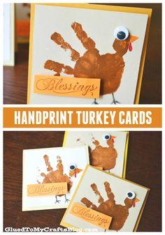 Super EASY Handprint Turkey Cards - Thanksgiving Kid Craft
