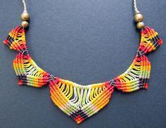 multi colored macrame necklace bohemian hippie por Mediterrasian