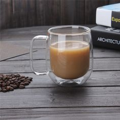 300ml Clear Glass Cup Handmade Heat Resistance Double WallCoffee Milk Tea Beer Mug Transparent Kongfu Cup Home Gift Drinkware #Affiliate