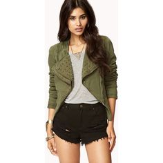 FOREVER 21 Military-Inspired Spiked Denim Jacket (840 MXN) ❤ liked on Polyvore featuring outerwear, jackets, outfits, complete outfit, full outfits, lightweight denim jacket, light weight jacket, collarless denim jacket, military style jacket and brown jean jacket