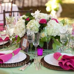 Muted-green linens and bright-pink napkins gave the tables lots of color.