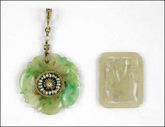 A CARVED JADE CIRCLE PENDANT. Lot 150-7390 #jewelry