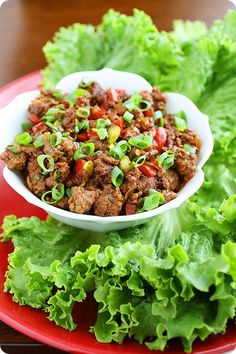 Asian Beef Lettuce Wraps  http://www.thecomfortofcooking.com/2012/10/asian-beef-lettuce-wraps.html#