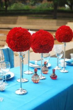 Spring Summer Red Silver Centerpiece Centerpieces Indoor Ceremony Indoor Reception Outdoor Ceremony Outdoor Reception Place Settings Wedding Reception Photos & Pictures - WeddingWire.com